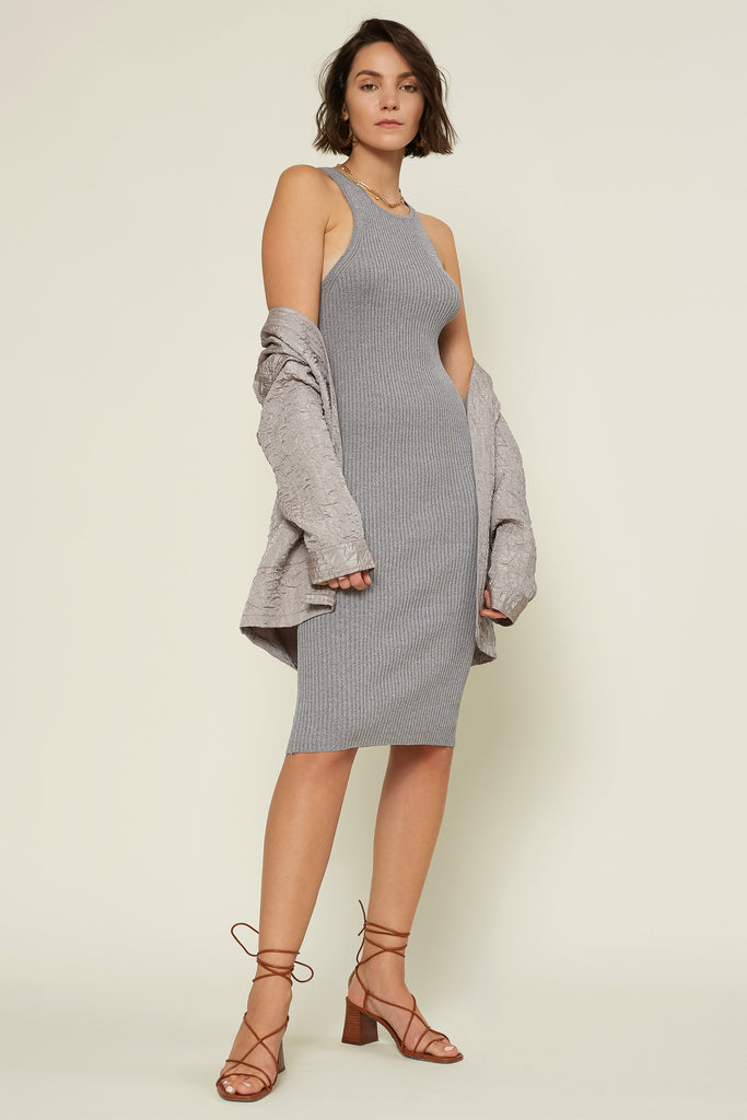 Ribbed Racerback Sweater Dress