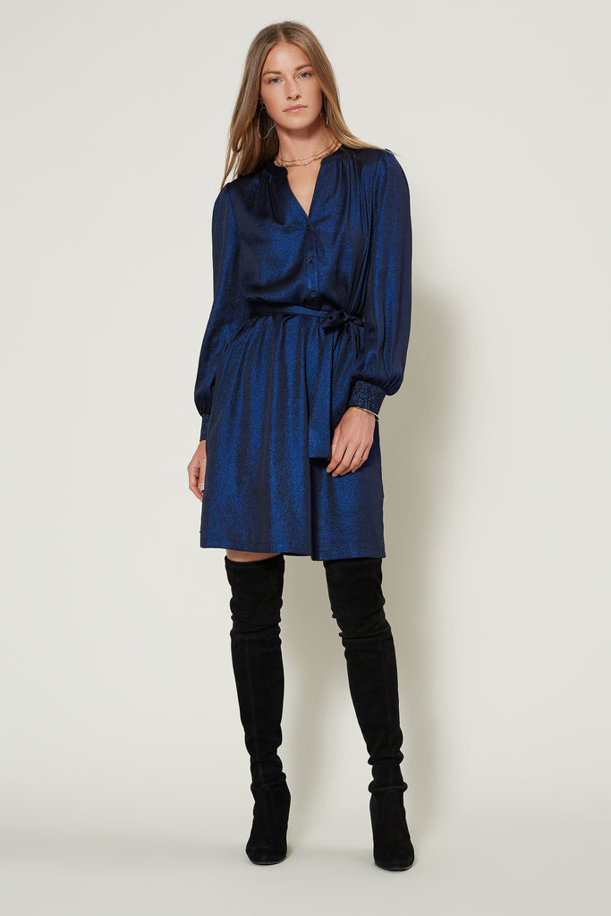Metallic Split Neck Shirt Dress