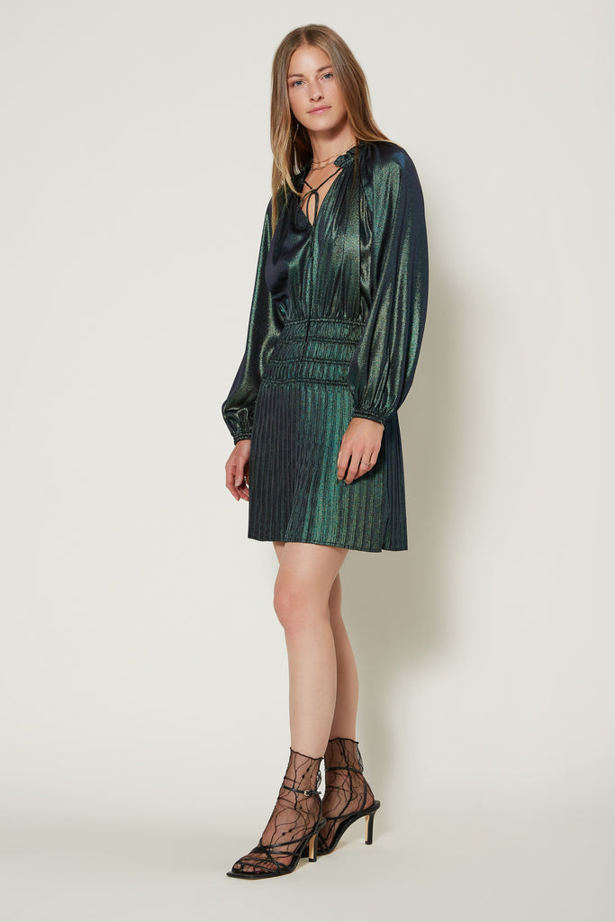 Metallic Foil Pleated Mini Dress
