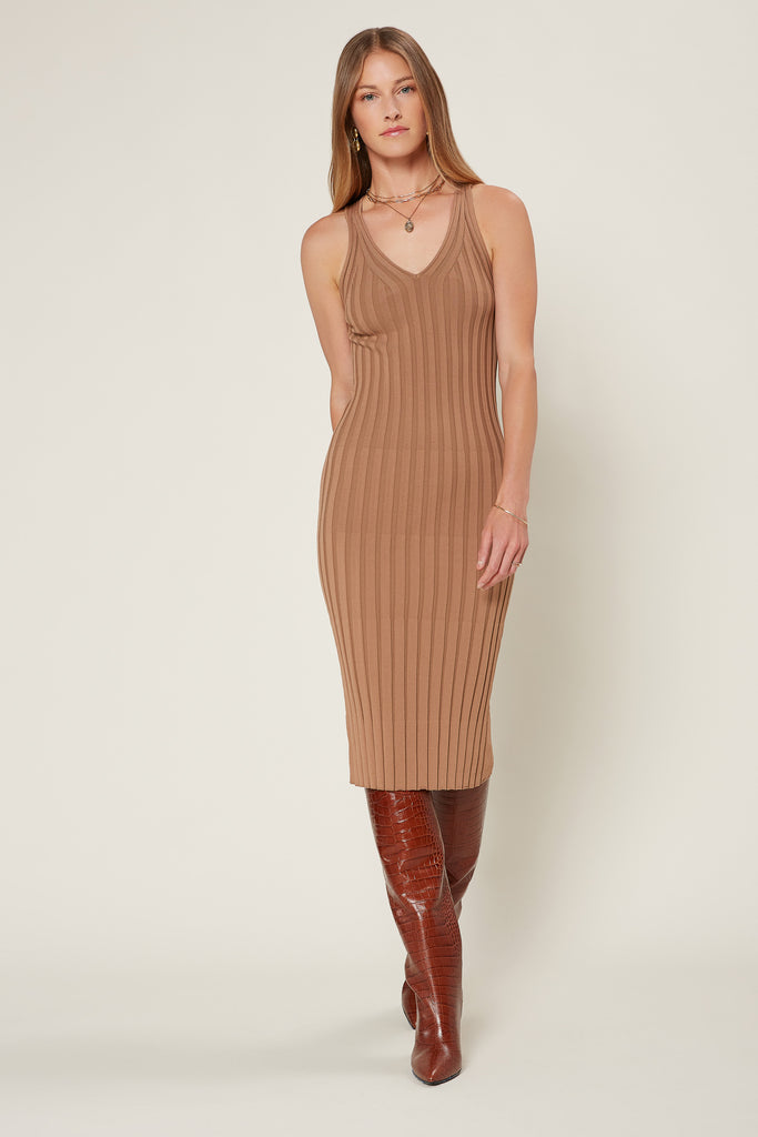 Sleeveless Ribbed Midi Dress
