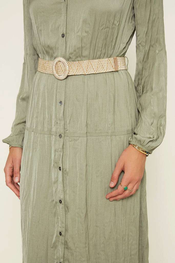 Button Down Dress with Belt Buckle