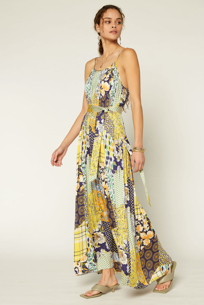 Patchwork Pleated Maxi Dress