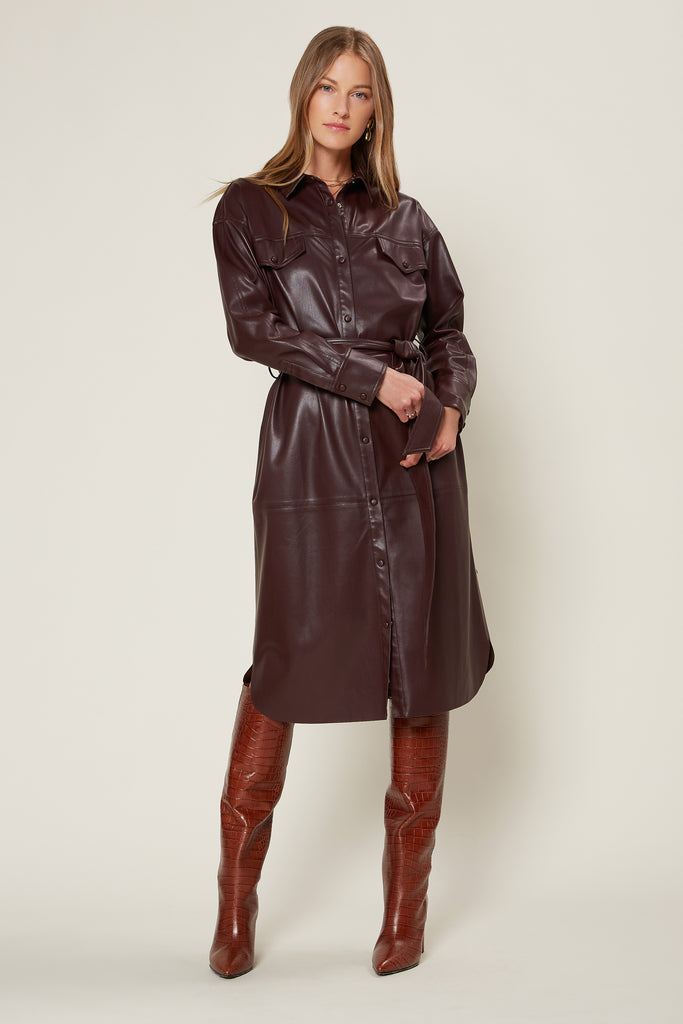 Belted Faux Leather Trench Jacket
