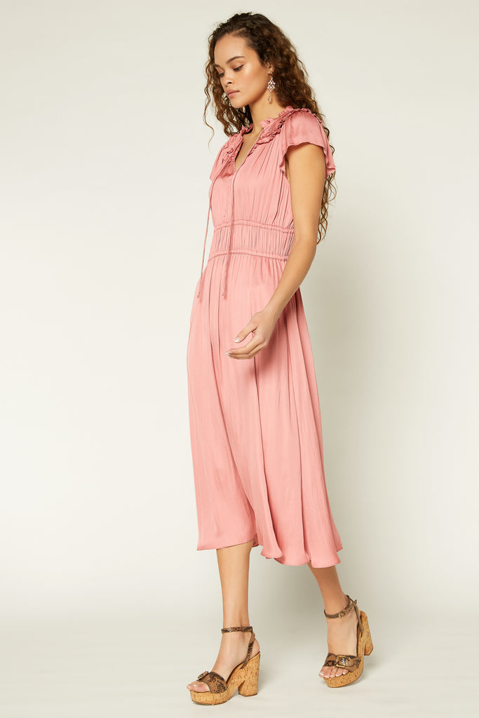 Gathered Yoke Midi Dress