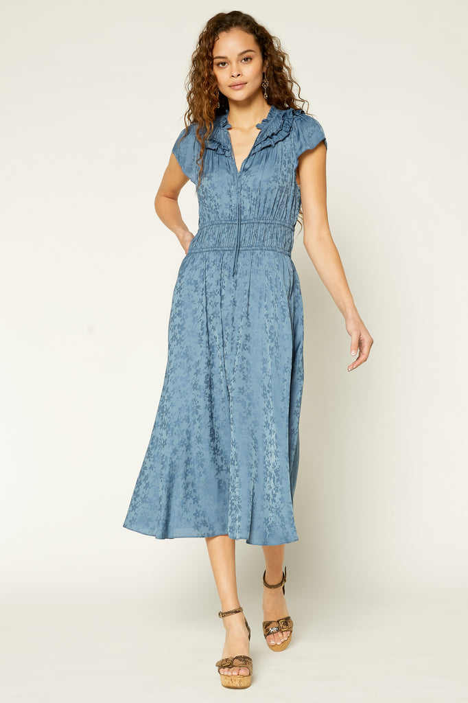 Gathered Yoke Midi Dress Midi Dress
