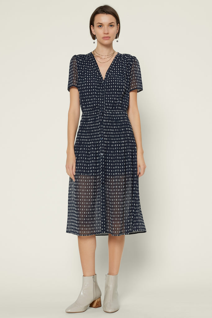 Dot Smocked Midi Dress