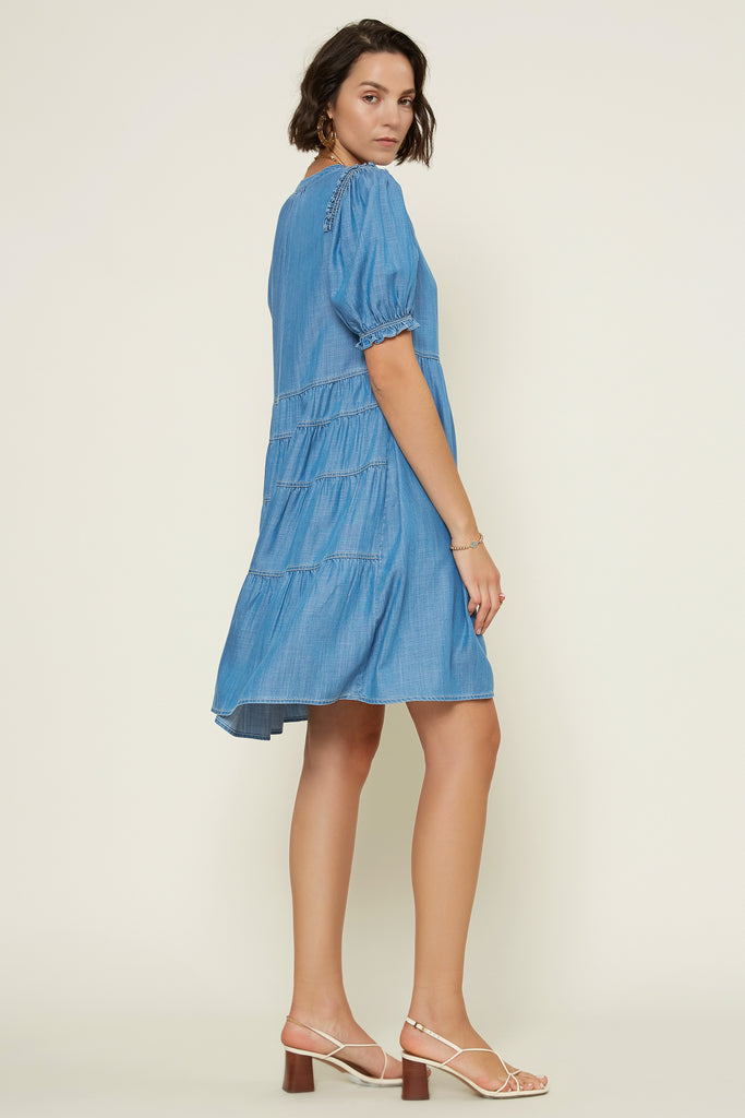 Chambray Babydoll Dress