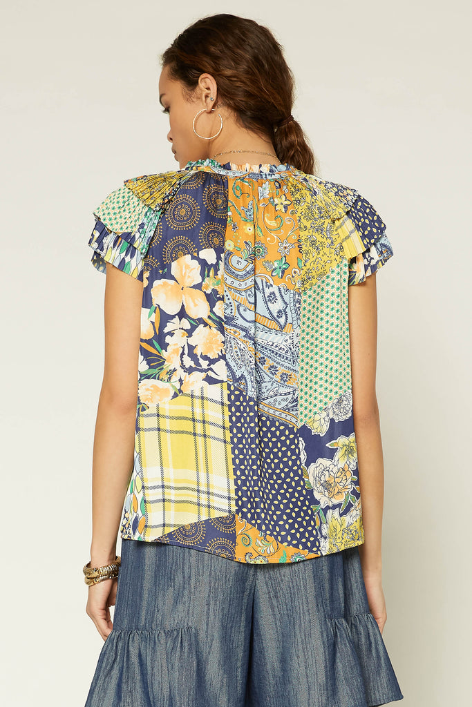 Patchwork Pleated Blouse