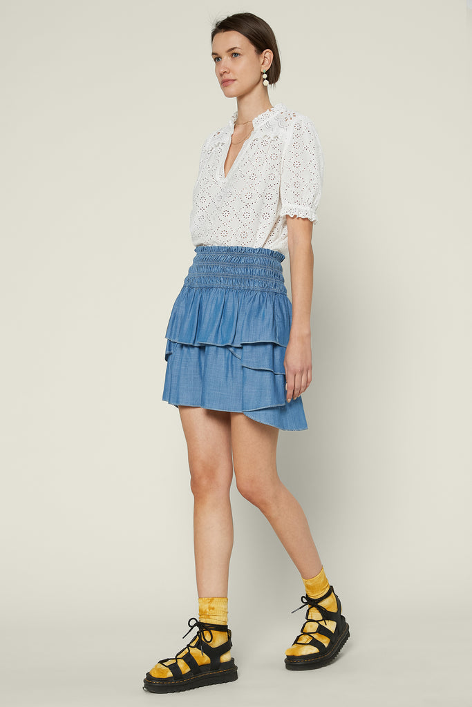 Chambray Ruffle Mini Skirt