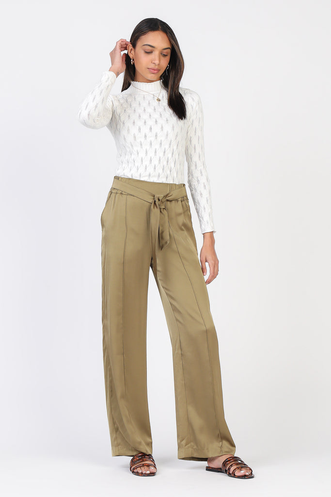 Satin Wide Leg Pants with Waist Tie