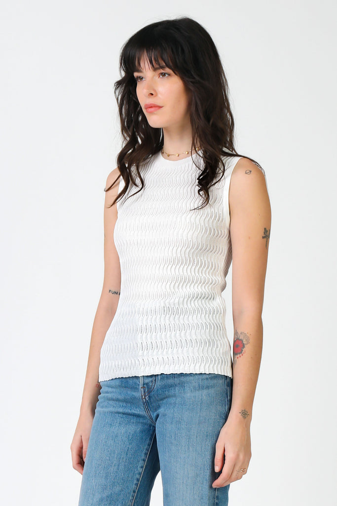 Sleeveless Pointelle Knit Top