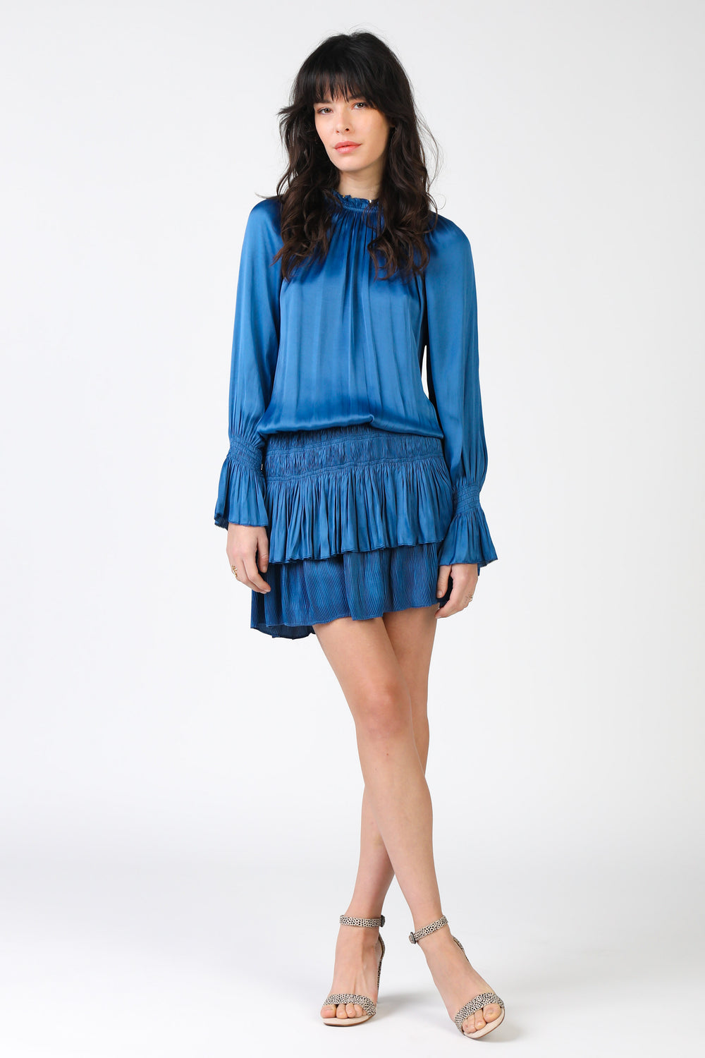 High Neck Pleated Skirt Dress