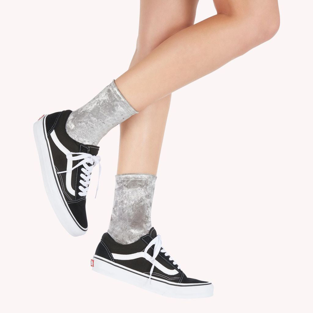 Darner Silver Crushed Velvet Socks