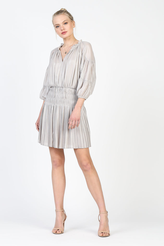 Bellow Sleeve Pleated Mini Dress