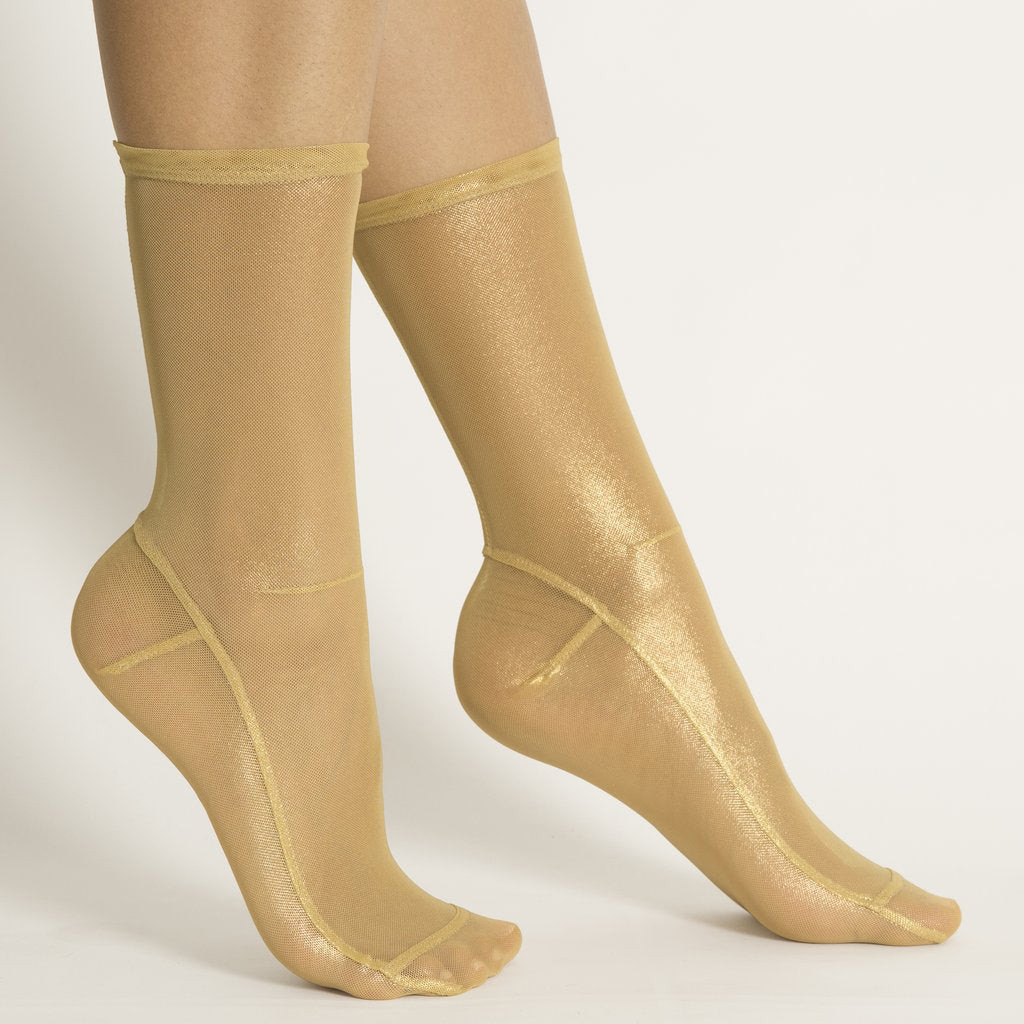 Darner Light Gold Foil Mesh Socks