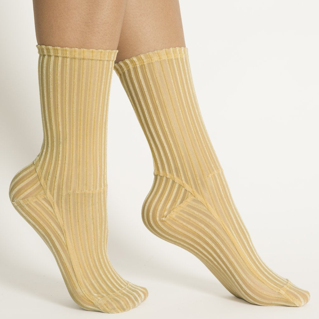 Darner X Matches Golden Yellow Ribbed Velvet Socks