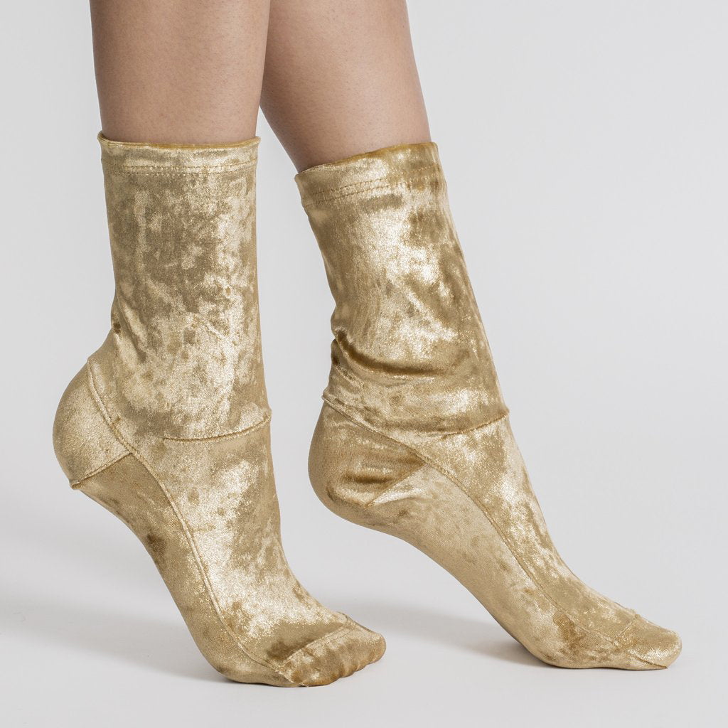 Darner Gold Crushed Velvet Socks