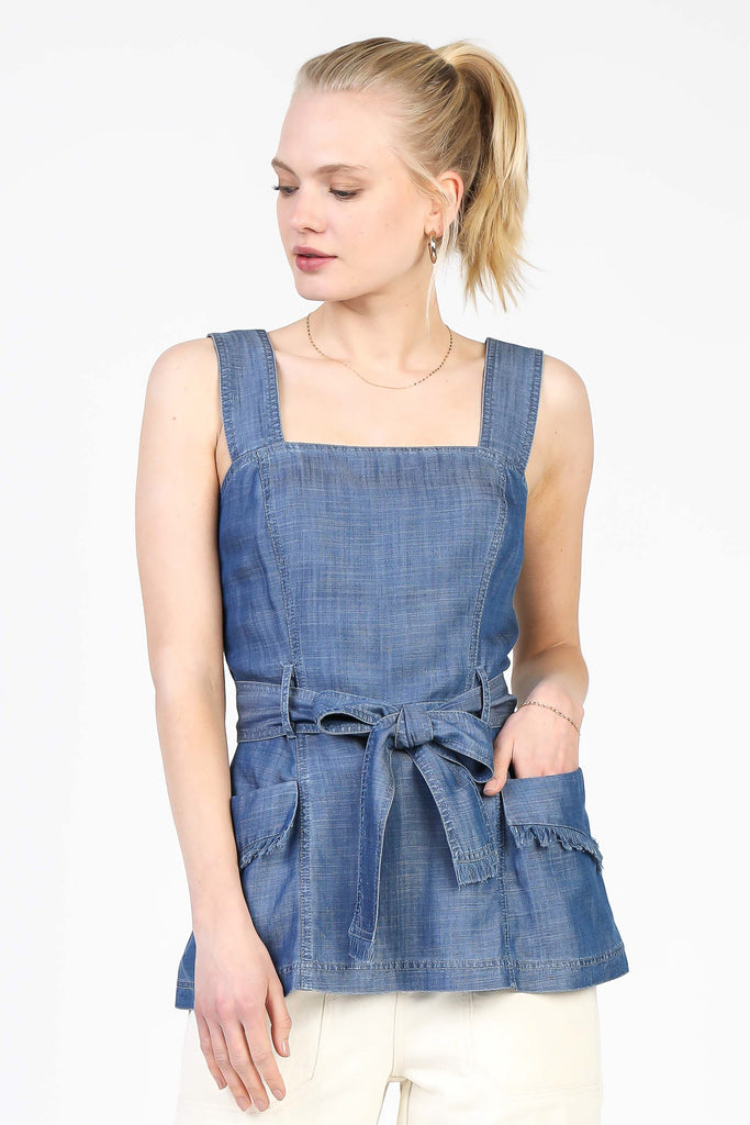 Square Neckline Chambray Top
