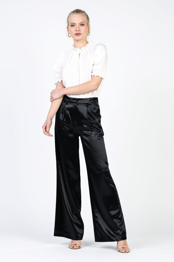 Metallic Sheen Wide-Legged Pants