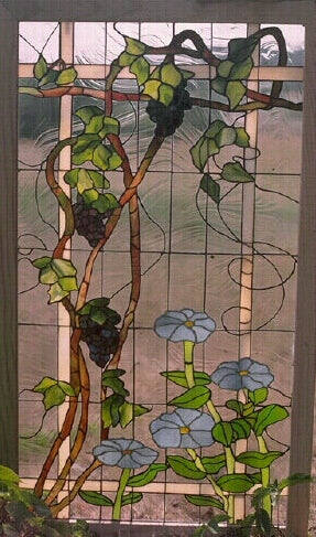 Grape Arbor Stained Glass Window
