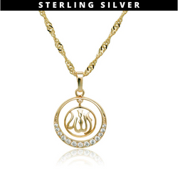 18k Allah Necklace Sterling Silver - Gold