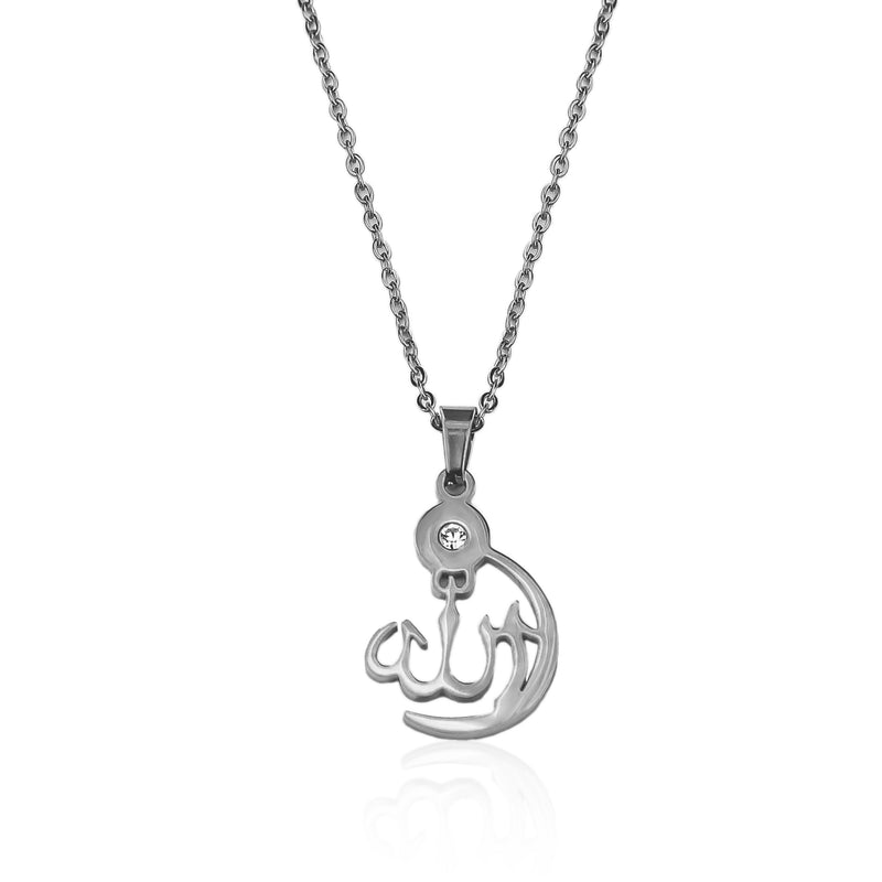 Allah Crescent Necklace - Silver