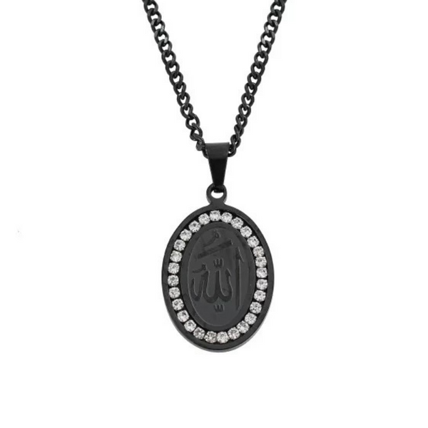 Iced Out Allah Necklace - Black
