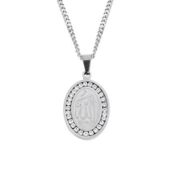 Iced Out Allah Necklace - Silver