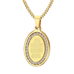 Iced Out Qalam Necklace - Gold