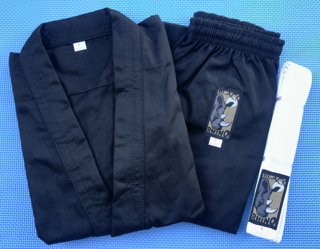 9oz Rhino Karate Uniforms - Black