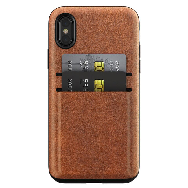 Nomad - Horween Leather Wallet Case for iPhone X - Rustic Brown