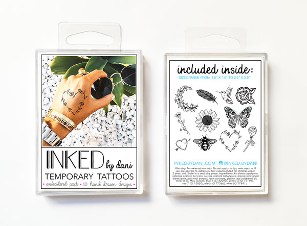 INKED by Dani - Embroidered Pack - Temporary Tattoos