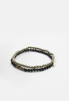 Faceted Pyrite & Onyx Delano Stack Bracelet