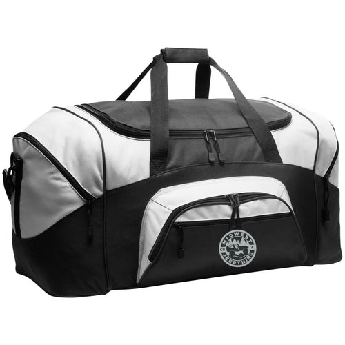 MWJT silver & black embroidered logo BG99 Port & Co. Colorblock Sport Duffel
