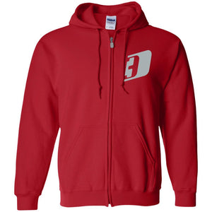 D3 silver embroidered G186 Gildan Zip Up Hooded Sweatshirt