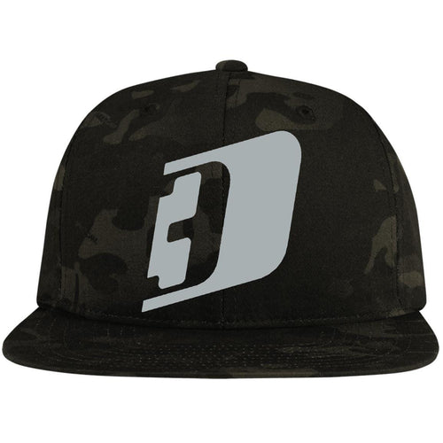 D3 silver embroidered STC19 Sport-Tek Flat Bill High-Profile Snapback Hat