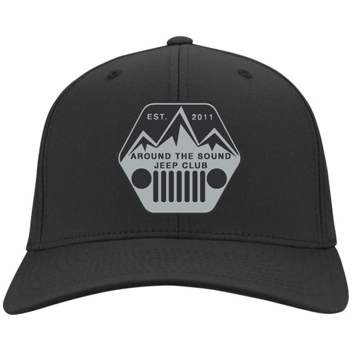 ASJC silver & black embroidered logo C813 Port Authority Fullback Flex Fit Twill Baseball Cap