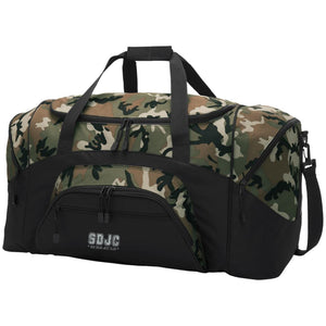 SDJC silver embroidered logo BG99 Port & Co. Colorblock Sport Duffel