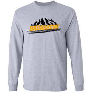 John's 4x4 BADASSERY Mountains 2-sided print G240 Gildan LS Ultra Cotton T-Shirt