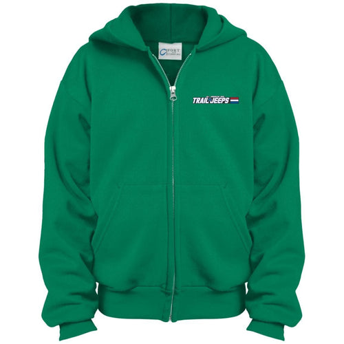 Trail Jeeps embroidered logo PC90YZH Port & Co. Youth Full Zip Hoodie