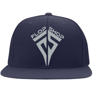 Flop Shop silver embroidered logo 6297F Fullback Flat Bill Twill Flexfit Cap