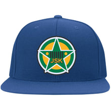 JSK_Star embroidered logo 6297F Fullback Flat Bill Twill Flexfit Cap