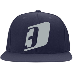 D3 silver embroidered 6297F Fullback Flat Bill Twill Flexfit Cap