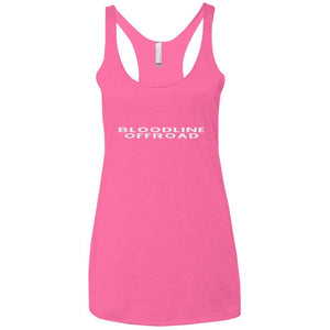 Bloodline Offroad white logo NL6733 Next Level Ladies' Triblend Racerback Tank