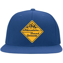 Adventure Bound Offroad gold embroidered logo 6297F Fullback Flat Bill Twill Flexfit Cap