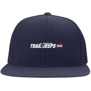 Trail Jeeps embroidered logo 6297F Fullback Flat Bill Twill Flexfit Cap