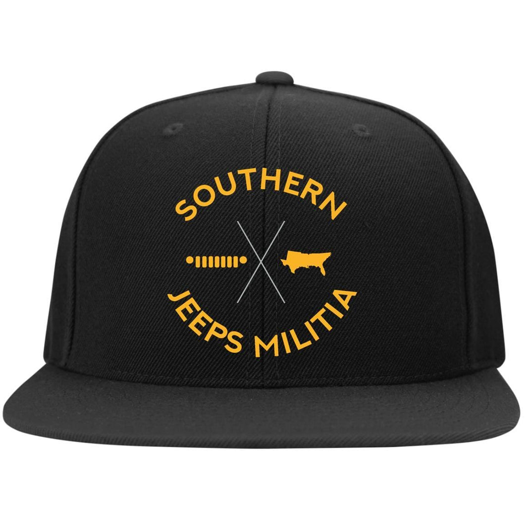 Southern Jeeps Militia gold embroidered logo STC19 Sport-Tek Flat Bill High-Profile Snapback Hat