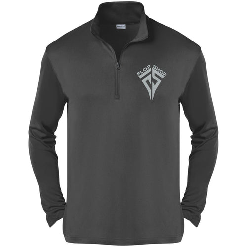 Flop Shop silver embroidered logo ST357 Sport-Tek Competitor 1/4-Zip Pullover