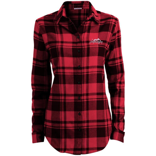 JeepnGypsy white embroidered LW668 Ladies' Plaid Flannel Tunic