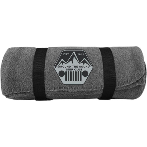 ASJC silver & black embroidered logo BP10 Port & Co. Fleece Blanket